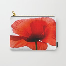 Simply Red - Poppy Flower on White Carry-All Pouch
