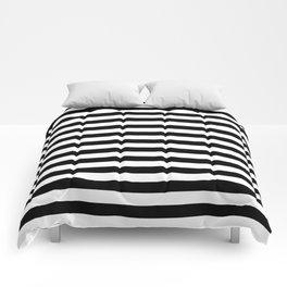 Black and White Horizontal Strips Comforters