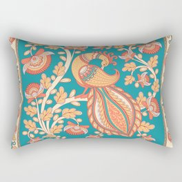 Square composition with a peacock and a flower branch. Rectangular Pillow