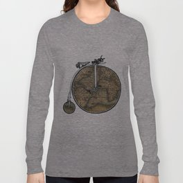 Penny Farthing Map Long Sleeve T-shirt