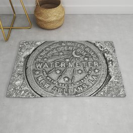 New Orleans Water Meter Louisiana Crescent City NOLA Water Board Metalwork Grey Silver Rug
