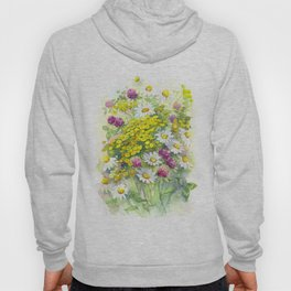 Watercolor meadow flowers spring Hoody