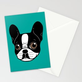 Double Hooded Pied French Bulldog Puppy Stationery Cards