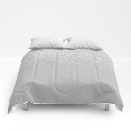 Trendy modern silver ombre grey color block Comforters