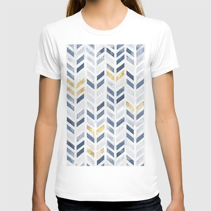 Herringbone chevron pattern. Indigo gold acrylic on canvas T-shirt