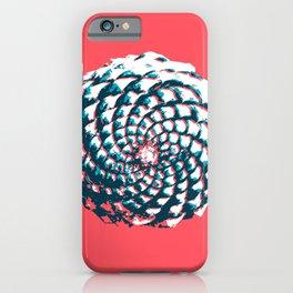 pine cone pattern in coral, aqua and indigo iPhone Case