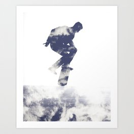 Simon- Kickflip in the Clouds Art Print
