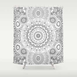 MOONCHILD MANDALA BLACK AND WHITE Shower Curtain