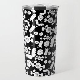 Skulls and ghosts pattern in black Travel Mug