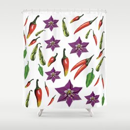Chili Peppers Botanical Pattern Shower Curtain