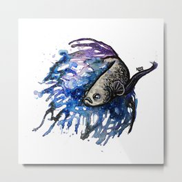 Galaxy Betta Fish Watercolor Metal Print