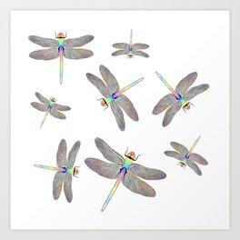 Rainbow Dragonfly II Art Print