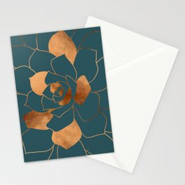 Abstract Metal Copper Blossom on Emerald Stationery Cards