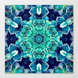 Turquoise Succulents Mandala Canvas Print