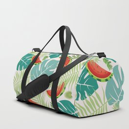 Tropical red green watermelon fruit floral Duffle Bag