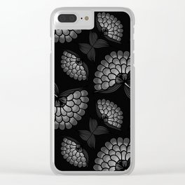 Bold Monochrome Floral Print Clear iPhone Case