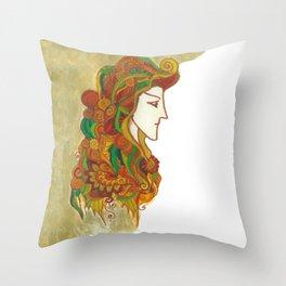 Golden Portrait Throw Pillow