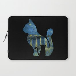 Cat Watching The Starry Night Over The Rhone - Van Gogh Painting Laptop Sleeve