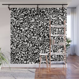 Abstract fractal black marbleized psychedelic plasma Wall Mural