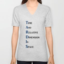 Tardis Doctor Who Time and Relative Dimension in Space Unisex V-Neck