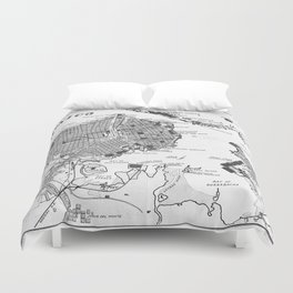 Vintage Map of Havana Cuba (1898) 2 BW Duvet Cover