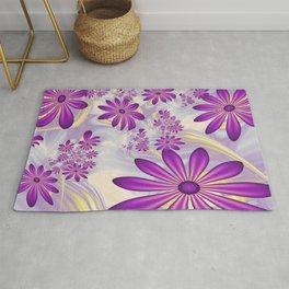 Fractal Art Dancing Purple Flowers Rug