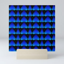 Alternating pattern of blue hearts and stripes on a black background. Mini Art Print
