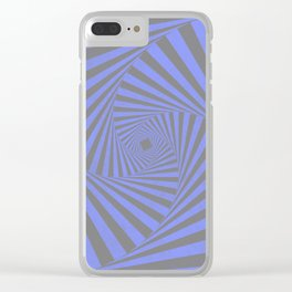 Periwinkle Blue Psychedelic Grunge Stripes Clear iPhone Case
