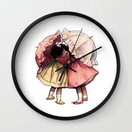 Vintage Children Girls with Umbrellas Wall Clock