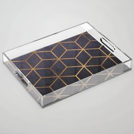 Dark Purple and Gold - Geometric Textured Gradient Cube Design Acrylic Tray