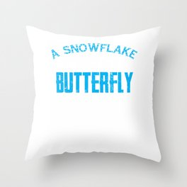 A snowflake is winter's butterfly Throw Pillow