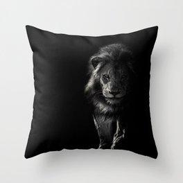 black_and_white,lion Throw Pillow