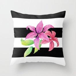 Stripes & Flowers Throw Pillow