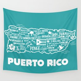 Puerto Rico Map  Wall Tapestry