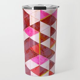 Marble Triangle Tile Pattern in Reds Travel Mug