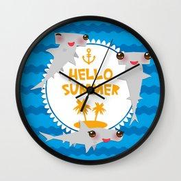 Hello Summer. Kawaii hammerhead shark Wall Clock