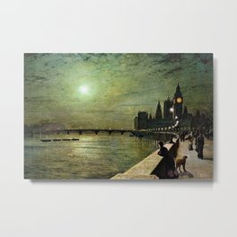 Reflections on the Thames River, London by John Atkinson Grimshaw Metal Print