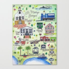 """Downtown St. Marys, GA"" Watercolor Map Canvas Print"