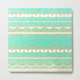 Modern gold turquoise teal ombre aztec pattern Metal Print