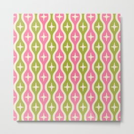 Mid century Modern Bulbous Star Pattern Pink and Green Metal Print