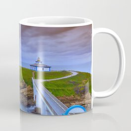 View of Pancha Island in Ribadeo, Lugo before a storm. Coffee Mug