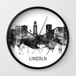 Lincoln Nebraska Skyline BW Wall Clock