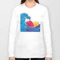 hokusai Long Sleeve T-shirts featuring Hokusai Rainbow & Hibiscus_YR by FACTORIE
