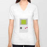 gameboy V-neck T-shirts featuring #54 Gameboy by MNML Thing