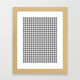Small Diamonds - White and Dark Gray Framed Art Print