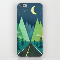 road iPhone & iPod Skins featuring The Long Road at Night by Jenny Tiffany