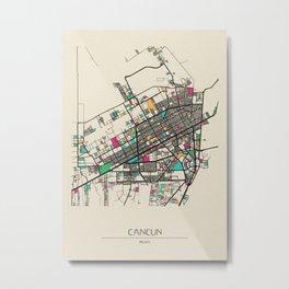Colorful City Maps: Cancun, Mexico Metal Print