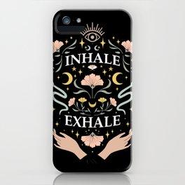 Breathe, inhale exhale yogi zen master poster black iPhone Case