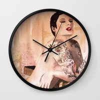 tatoo Wall Clocks featuring Tatoo by aurora villaviejas