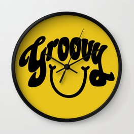 Groovy Smile // Black Smiley Face Fun Retro 70s Hippie Vibes Mustard Yellow Lettering Typography Art Wall Clock